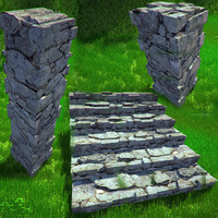 stone wall stairs fbx free