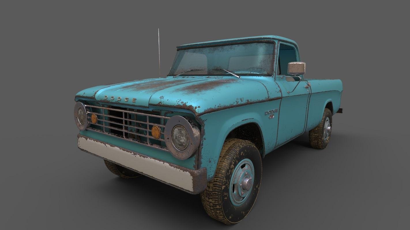 truck antique 3d obj