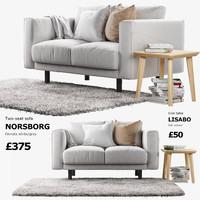two-seat sofa ikea norsborg 3d model