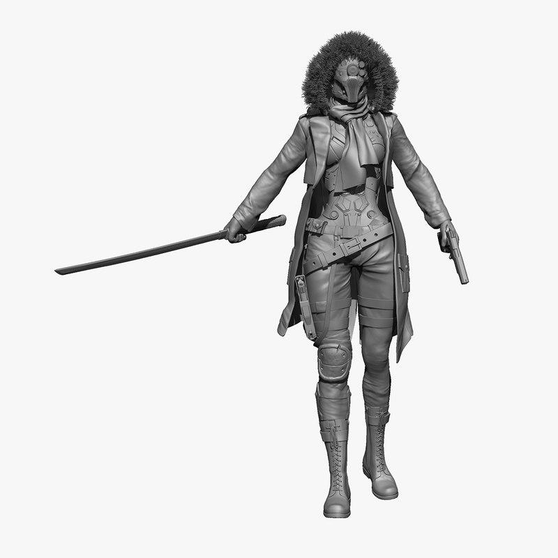3d model woman cyborg zbrush