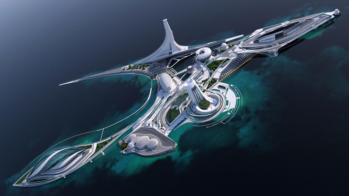 cities future buildings 3d model