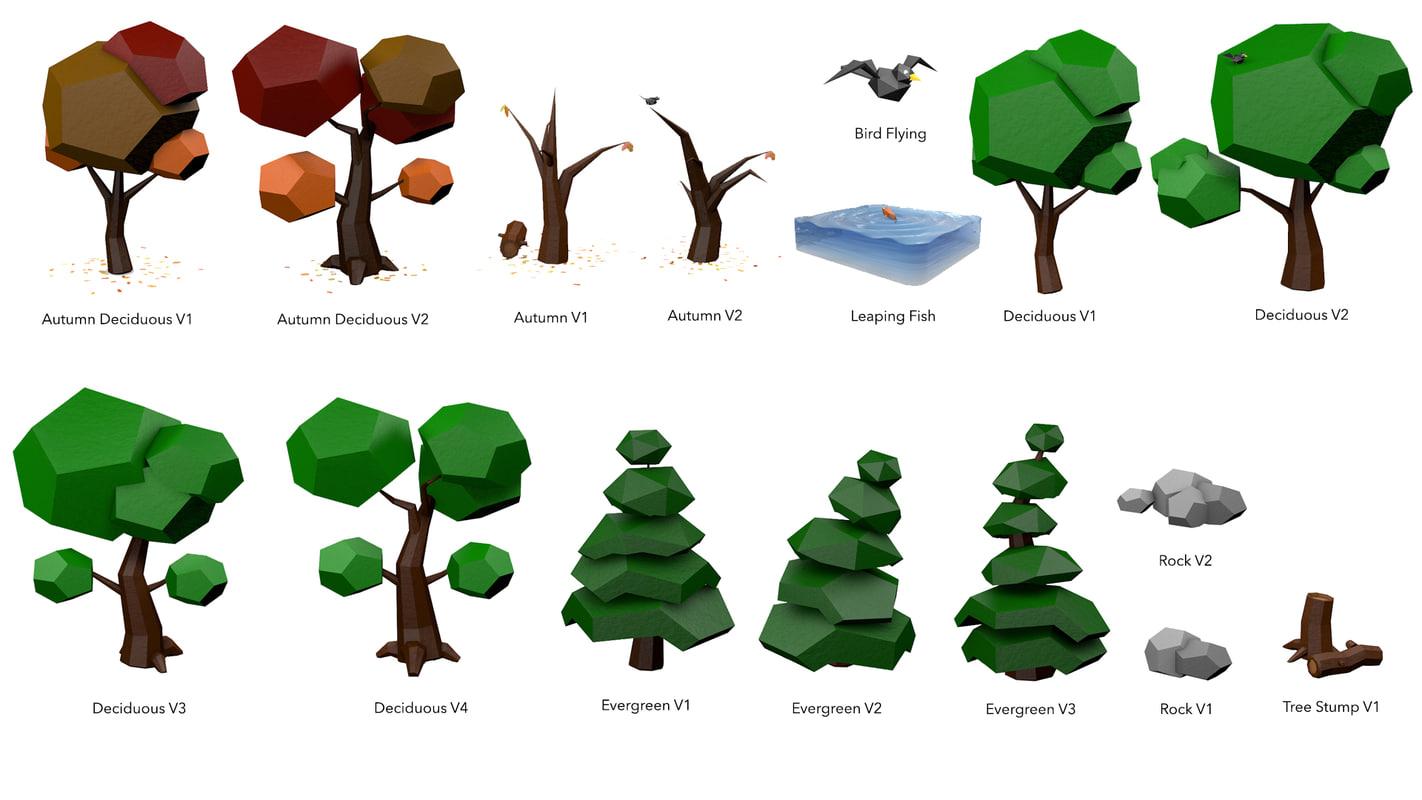 3d vegetation environment trees model