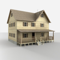 3d model rural house building asset