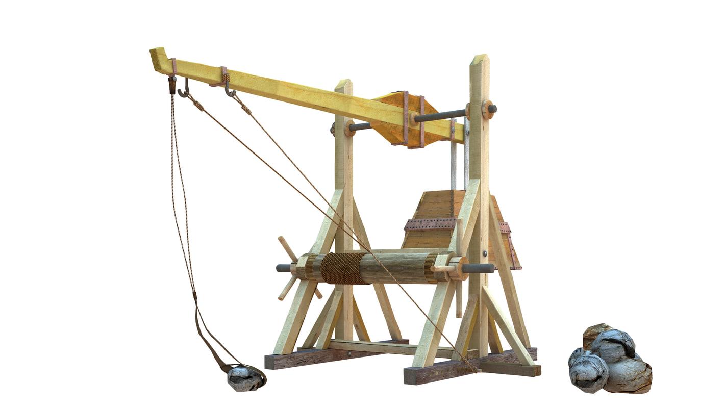 3d model weapons xlll-xlv century catapults