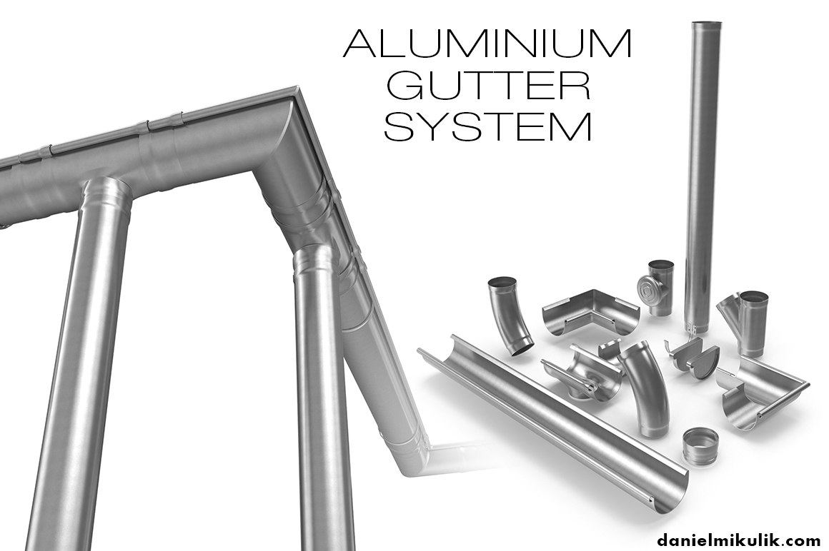 3d aluminium gutter model