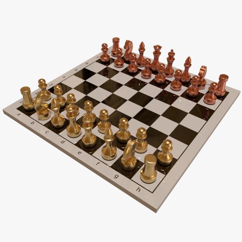 chess set 3d obj