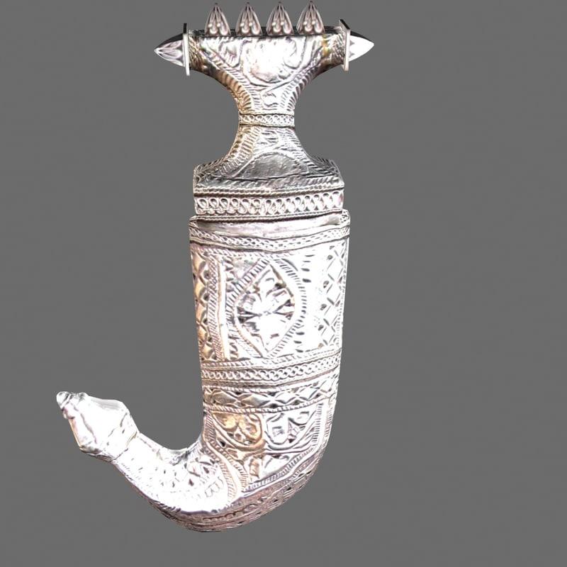 3d arabian silver dagger model