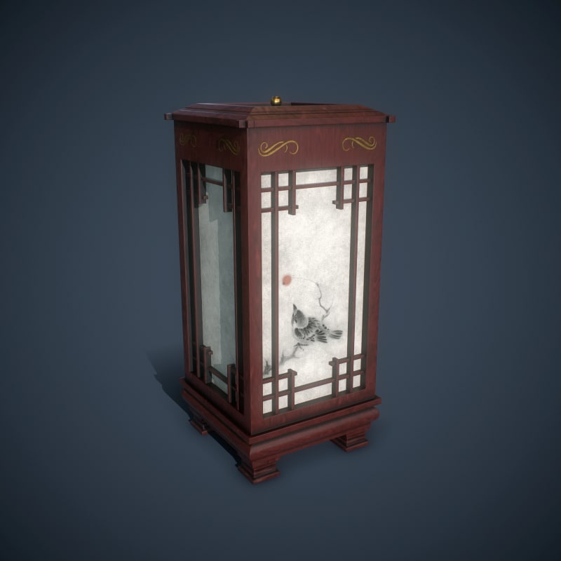korean floor lamp 3d model