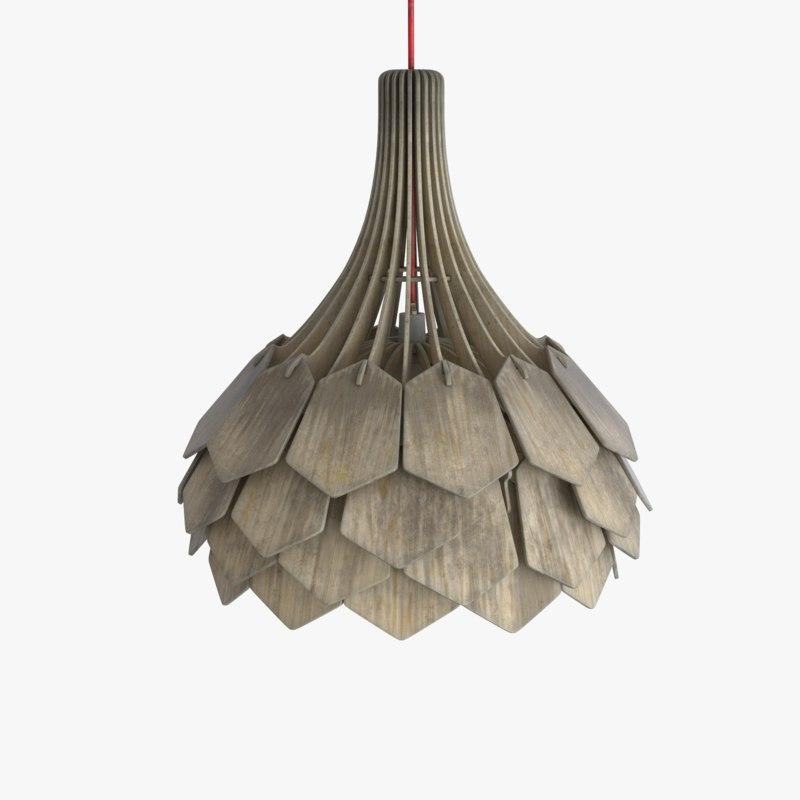 3d damaged wooden ceiling lamp