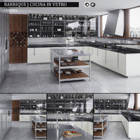 kitchen barrique cucina vetro 3d max