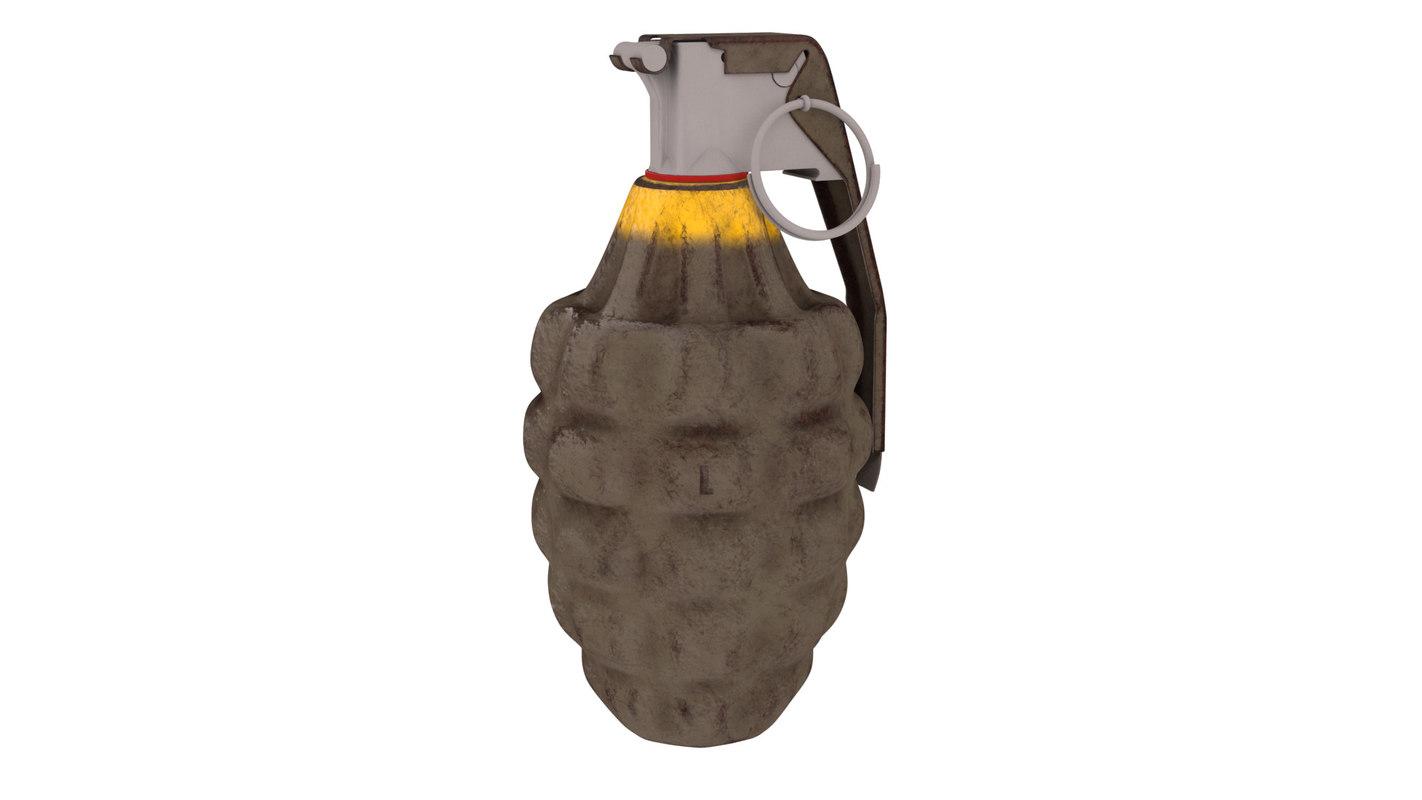 3d model mk2 grenade