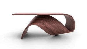 curved wood archviz 3d model