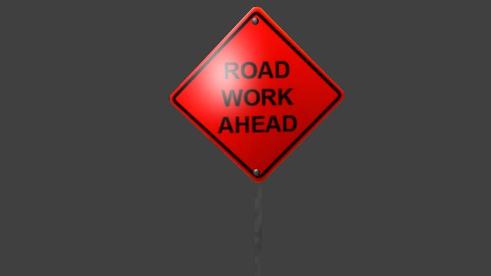 orange road work ahead 3d model
