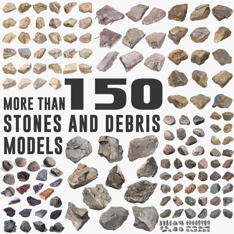 3d model of pack stones debris