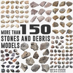 3d model of pack stones debris