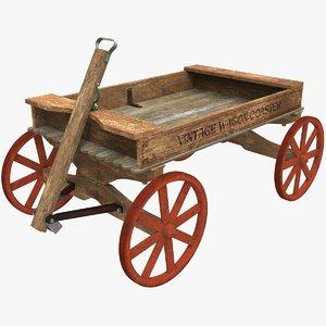 3d wooden wagon model