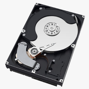 computer hard drive open 3d model
