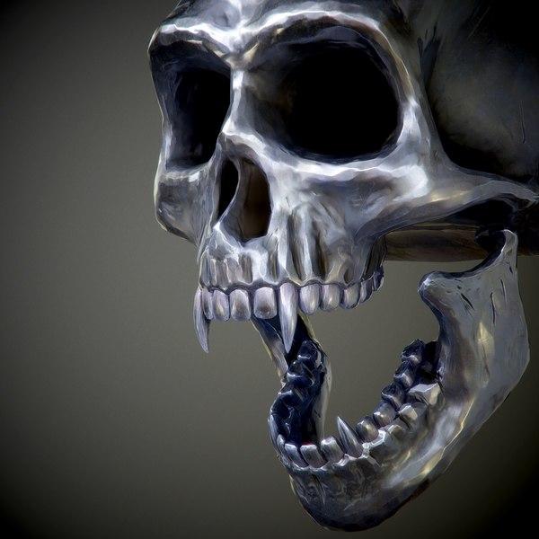 steel skull fangs 3d model