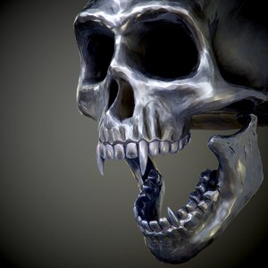 steel skull fangs 3d model