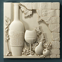 wall plaque bass-relief for cnc router wine grapes