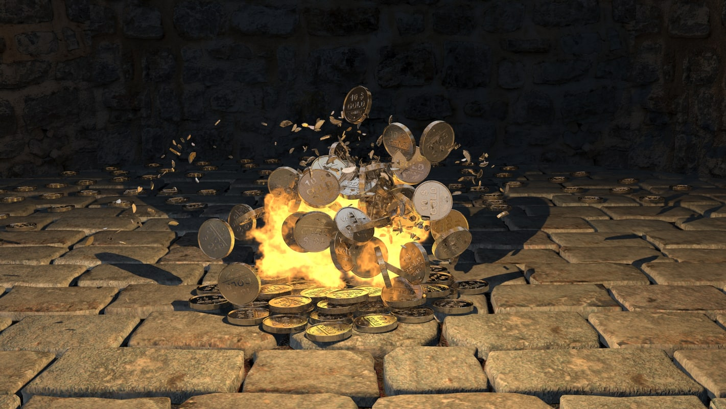 3d explosion gold coins model