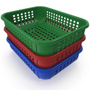 3d realistic plastic basket