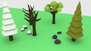 trees rocks obj