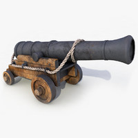 3d model old ship cannon