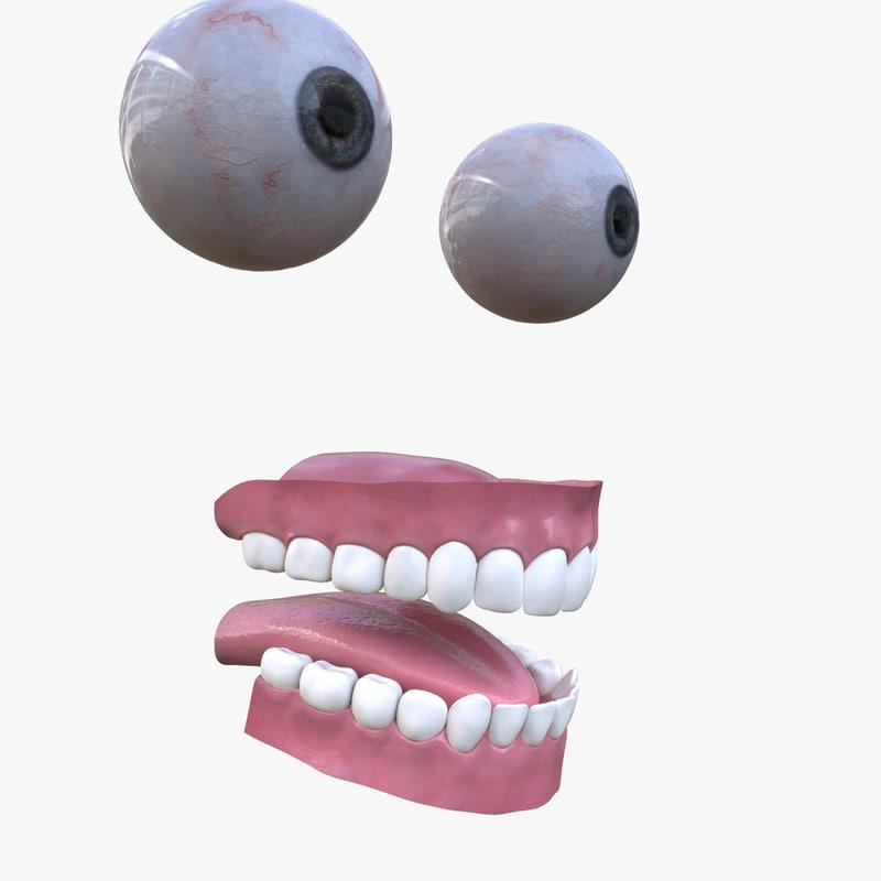 3d model eyes teeth gums