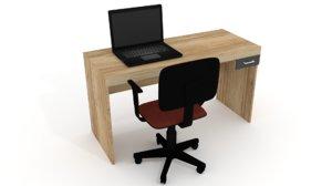 3d computer desk notebook chair