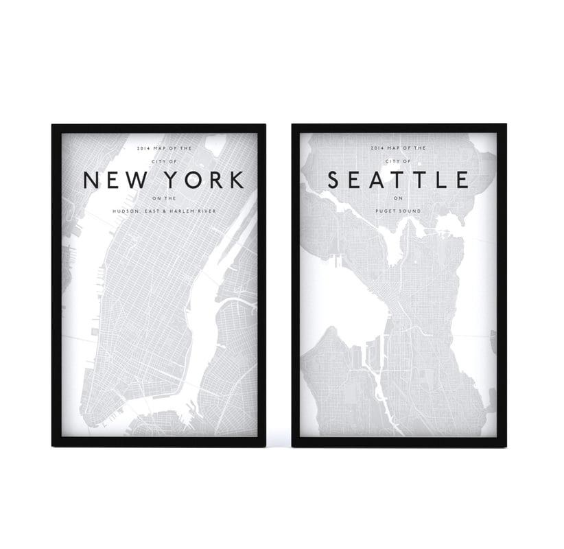 3d model picture frames - city maps