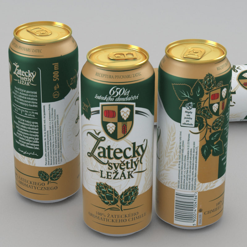 beer zatecky svetly lezak 3d model