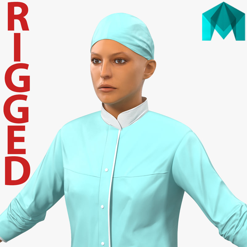 3d model female surgeon mediterranean rigged