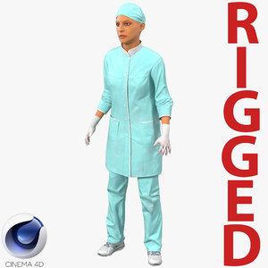 3d model female surgeon mediterranean blood
