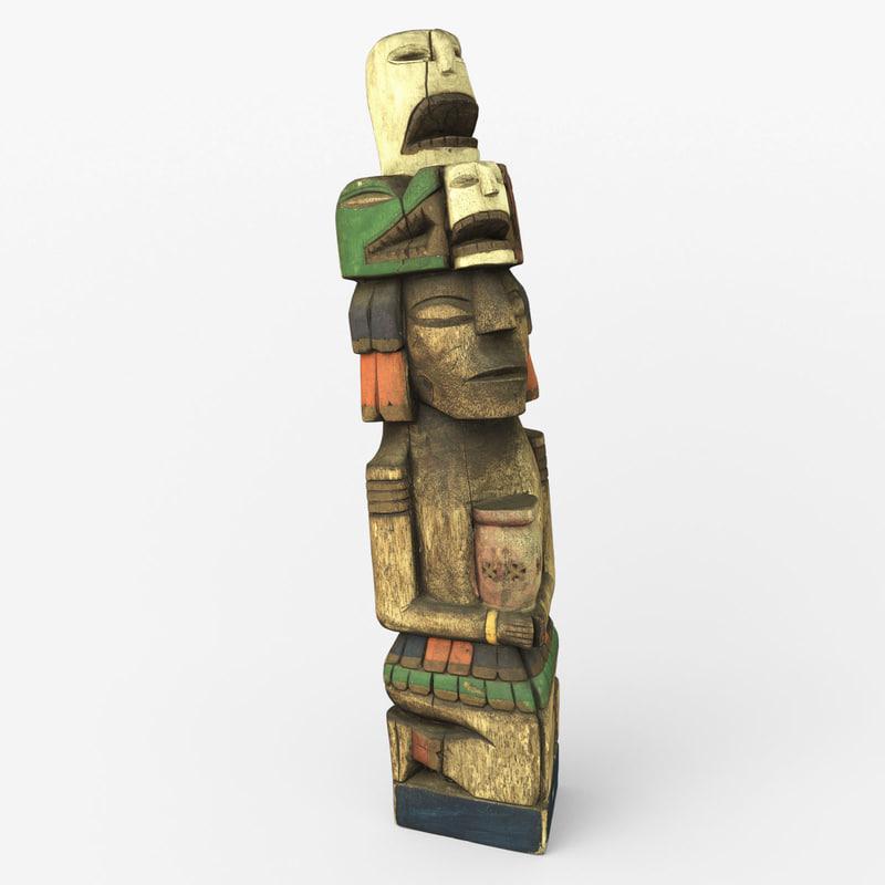 3d model totem wood