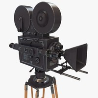 3d vintage movie camera retro model