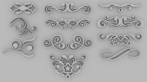 set 11 ornate swirls 3d 3ds