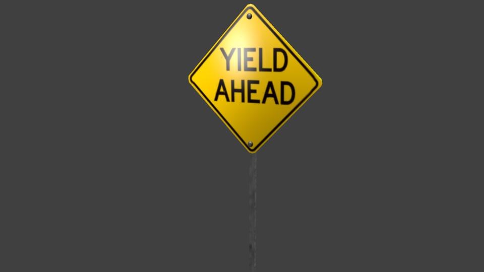 yellow yield ahead street sign 3d model