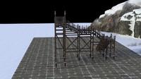 3d model of ancient asia architec snow