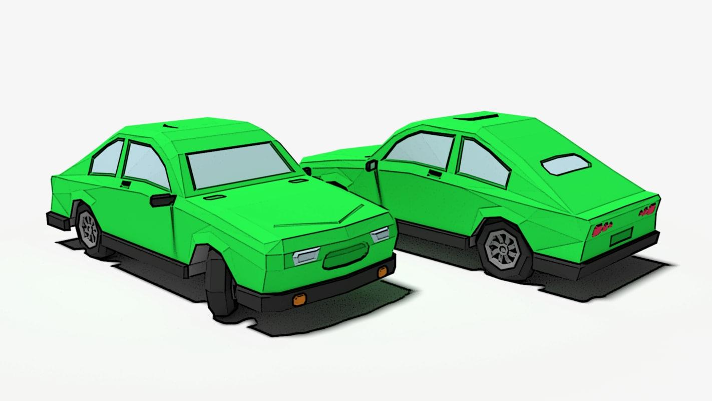3d model of cartoon car
