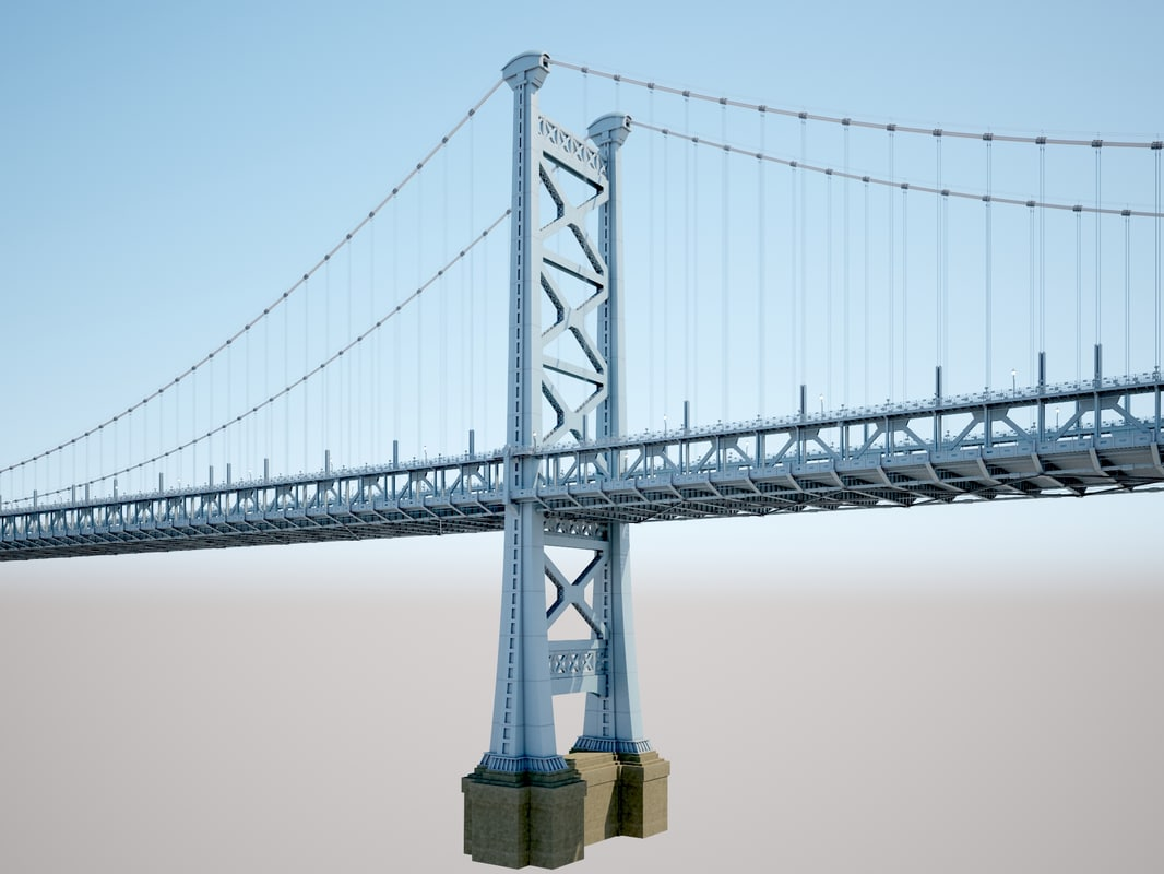 ben franklin bridge 3d model