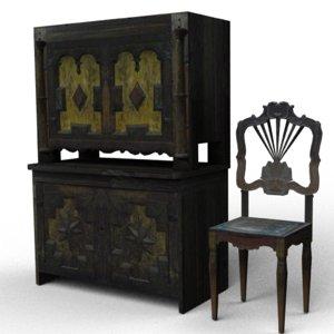 3d chair cupboard model