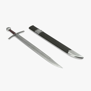 3d model falchion sword sheath