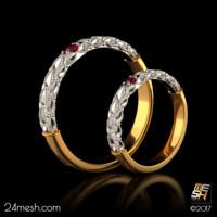 rg0001 - wedding rings 3d model