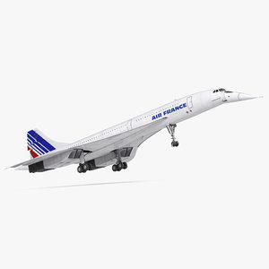 3d model of concorde supersonic passenger jet