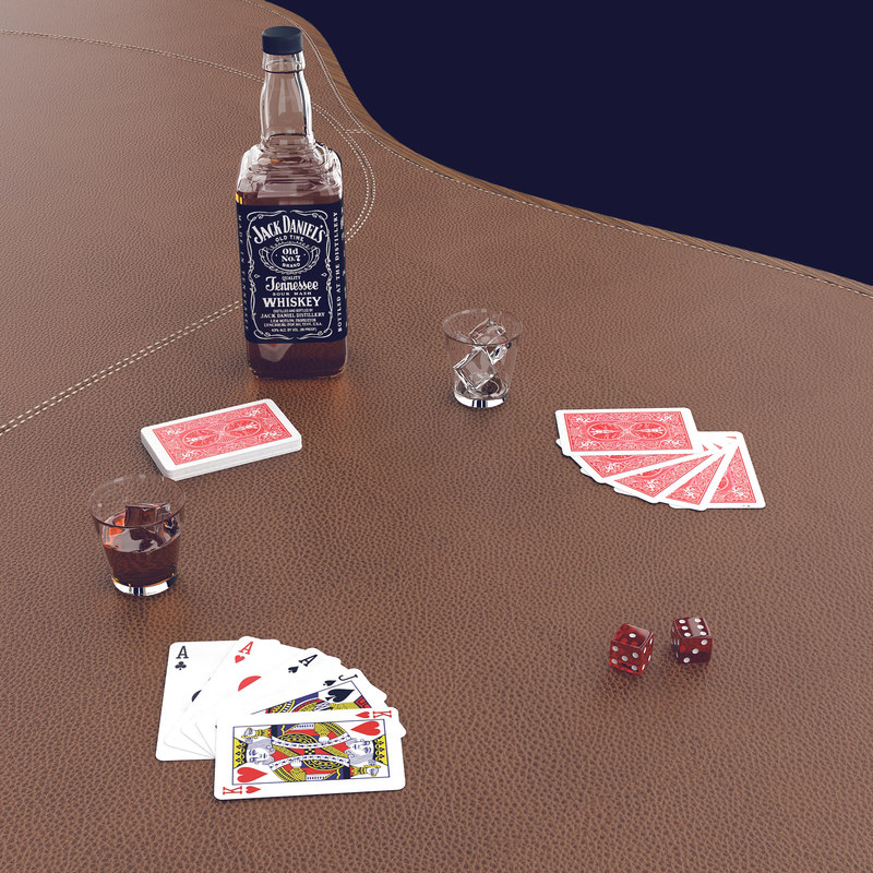table whiskey casino 3d model