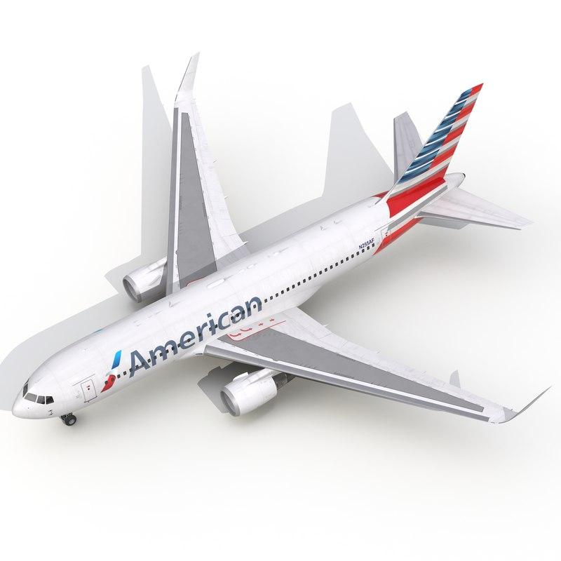 3d model boeing 767-200er american airlines