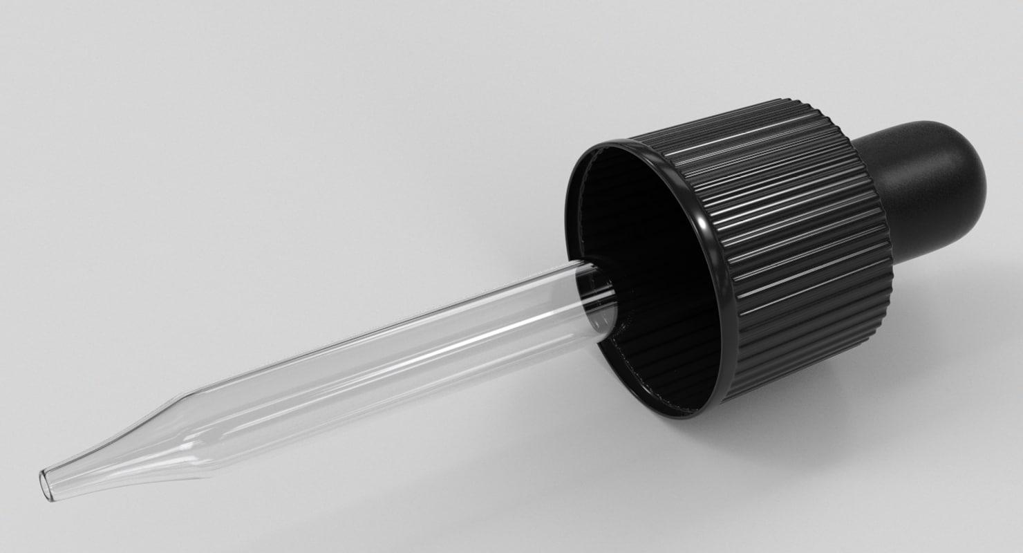 3d black bulb glass dropper model