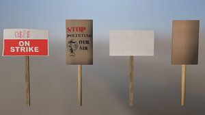 strike protest signs ready 3d model