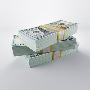 3d model 100 dollars packs